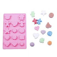 Yunko Silicone Mold Tray 14-cavities Gingerbread Boy Girl Flowers Star Leaf Shell Heart Shape Chocolate Sugar Ice Cake Candy Baking Mold Decorating Fondant Clay Soap Mold *** Find out more details @ : bakeware