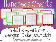 Hundreds chart available in 25 different styles.Backgrounds from KPM Doodles, Lettering Delights and Scrappin Doodles....