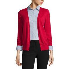 jcp | Worthington® Long-Sleeve Button-Front Cardigan