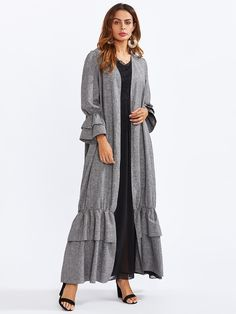 Shop Tiered Ruffle Bell Cuff And Hem Abaya online. SheIn offers Tiered Ruffle Bell Cuff And Hem Abaya & more to fit your fashionable needs. Abaya Fashion, Muslim Fashion, Modest Fashion, Boho Fashion, Fashion Dresses, Abaya Designs, Fall Dresses, Casual Dresses, Estilo Abaya