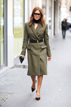 Christine Centenera in a belted army green jacket dress + black heels