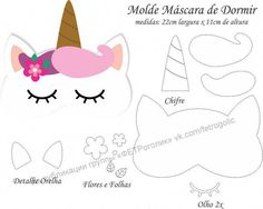 Molde Máscara de Dormir Unicórnio - Molde para Feltro - EVA e Artesanato, Molde Máscara de Dormir Unicórnio - Molde para EVA - Feltro e Artesanato Felt Crafts, Diy And Crafts, Paper Crafts, Sewing Crafts, Sewing Projects, Unicorn Mask, Unicorn Balloon, Felt Mask, Unicorn Crafts