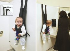 wow a new solution to what to do with baby when mom has to visit the restroom while shopping. the baby's face. Baby Up, Baby Love, Baby Kids, Shower Bebe, Baby Shower, Inventions Sympas, Baby Hangers, Wall Hanger, Hanger Hooks