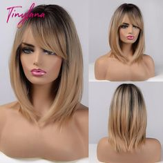 Light Ash Blonde, Brown To Blonde, Blonde Ombre, Dark Brown, Honey Brown, Golden Blonde, Short Hair Wigs, Wigs With Bangs, Long Bob Haircuts