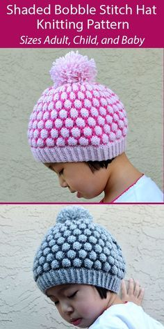 Knitting Pattern for Shaded Bobble Stitch Hat in 5 Sizes Baby to Adult - 2 color beanie with bubbles of color. Sizes 6 months to 2 years, 3 to 6 years, 7 years to Teen, Adult, Larger Adult. Worsted weight yarn. Designed by Christy Hills Knitting Patterns Free, Knit Patterns, Free Pattern, Slouchy Hat, Beanie, Knit Crochet, Crochet Hats, Bobble Stitch, Knitting For Kids