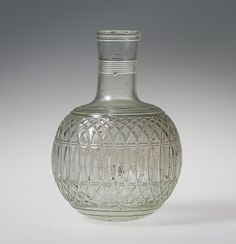 Glass globular bottle, Greek and Roman Art Gift of J. Pierpont Morgan, 1917 Metropolitan Museum of Art, New York, NY Medium: Glass Roman Artifacts, Historical Artifacts, Ancient Artifacts, Antique Bottles, Antique Glass, Cut Glass, Glass Art, Glass Vessel, Glass Bottles