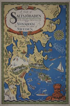 A Map of Saltsjöbaden / Sweden c. 1930 /  Artist - Ernst Akerbladh /  26 x 39 in (66 x 99 cm) / Description: A map of Saltsjöbaden, in the archipelago, half an hours trip from Stockholm the 7 centuries old capita of Sweden.