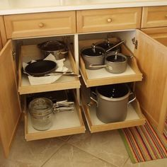 kitchen cabinets organization Pull-out shelves, shelves that slide, roll-out shelves or sliding shelves. Whatever you want to call them, they make the chore of finding t Kitchen Cabinet Drawers, Best Kitchen Cabinets, Kitchen Cabinet Organization, Storage Cabinets, Cabinet Ideas, Organization Ideas, Pull Out Cabinet Drawers, Storage Ideas, Wood Cabinets