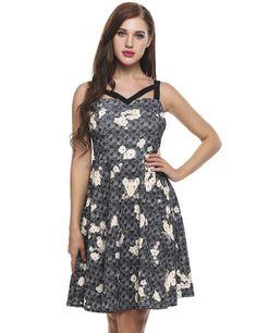 Black Sleeveless Floral Print V Neck Slim Cami A-Line Party Dress
