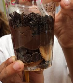 Yummy Layers of Soil-   Topsoil~Crushed Oreos  Subsoil~Chocolate Pudding  Bedrock~Chocolate Chips & Vanilla Wafers  Also, you can't see it but there is a gummy worm lurking in there somewhere.   This is a fun and delicious activity to end a unit of study on soil.