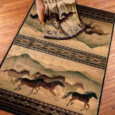 Chestnut Mare Western Horse Area Rug & Matching Throw Blanket