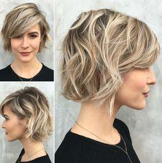 cortes de pelo corto, mujer con corte bob a capas con flequillo largo ladeado