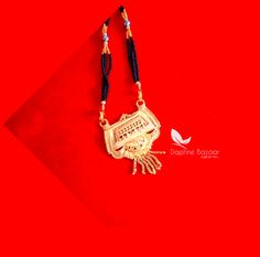 ME56, Daphne Handmade Golden Mangalsutra Necklace With Black Beads , Gift for Wife