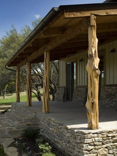 Stacked stone porch foundation and cedar posts.for a rustic look. - can this be used for a pergola?