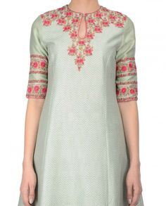 Mint green anarkali style kurta with floral prints all over adorning the inner… Punjabi Fashion, India Fashion, Indian Attire, Indian Wear, Kurta Designs, Blouse Designs, Indian Dresses, Indian Outfits, Kurti Patterns