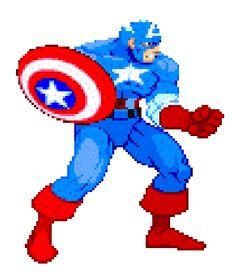 Captain America animation from the Marvel vs. Art Of Fighting, Fighting Games, Marvel Games, Marvel Avengers, Jack Kirby, Captain America, Superhero Villains, Dc Comics Characters, Cartoon Gifs