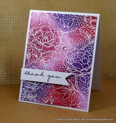 Supplies:  Cardstocks: Stampers Select White from Papertrey Ink  Stamp set: Inside out Thank You from Papertrey Ink and Large Flower Background Cling stamp from Hero Arts   Inks: Memento Black ink, Colourbox Frost White Ink, Bravo Burgundy, Rich RazzleBerry, Perfect Plum, Island Indigo inks from SU  Accessories: White Embossing powder, heat gun, Tim Holtz sponging tool and rhinestones.
