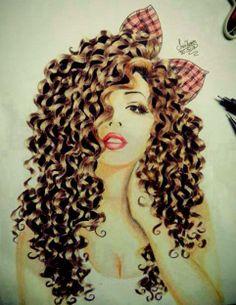 cabelos, cachos, laços, ilustração