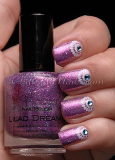 half-moon stamped manicure using KB Shimmer Lilac Dreams from Harlow & Co., stamped using Mash-47 and Sally Hansen Whirlwind White