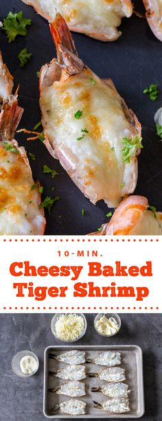 Cheesy baked tiger shrimp make for the most delicious side for lunch or dinner. These shrimp require only 10 minutes of prep and taste delicious. They are super easy to make and are the perfect addition to dinner. The kids and adults will go crazy for these delicious cheesy shrimp. #shrimp #cheesyshrimp #tigershrimp #bakedshrimp