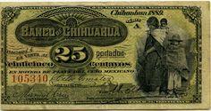 Mexican banknotes 25 Centavos note, El Banco de Chihuahua.