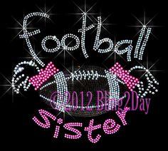 Ponytail Football Sister - Pink - Iron on Rhinestone Transfer Hot Fix Bling Sports - DIY