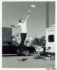 Steve McQueen goofing around with a frisbee on the movie set of Bullitt. This is one of my faves.