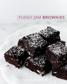 Fudgy Jam Brownies: Dense and fudgy, these brownies are sweetened with strawberry jam, giving it a richness that is not overly sweet. Cookie Desserts, Just Desserts, Delicious Desserts, Yummy Food, Brownie Recipes, Cookie Recipes, Dessert Recipes, Chocolate Treats, Chocolate Recipes