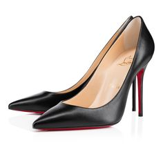 """""""Decollete 554"""" stands out for her long pointed toe and superfine stiletto heel.  Whether you're dashing off to a  meeting or an evening date, this 100mm version in classic black leather provides a poised look for the strong Louboutin woman."""