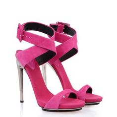 E30131 001  $ 650.00  These fuchsia-colored suede sandals with silver plated heel display a sassy, elegant style. Slinky and super sexy.