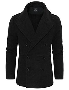 XQS Mens Stylish Winter Double Breasted Woolen Peacoat Jacket