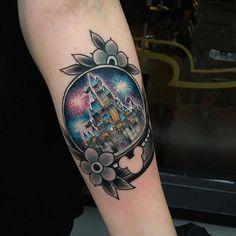 Disney Snow Globe tattoo by @chrisstockings at Legacy Tattoo in Ilfracombe, U.K. #chrisstockings #legacytattoo #illfracombe #england #uk #unitedkingdom #disneytattoo #snowglobetattoo #snowglobe #tattoo #tattoos #tattoosnob