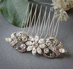 COLINE, Victorian Style SWAROVSKI Rhinestone Wedding Hair Comb, Oval Bridal Hair Comb, Wedding Hair Accessory (Signature Collection) on Etsy, $49.00