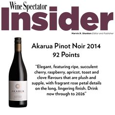 92 Points for Akarua Pinot Noir 2014!