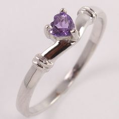 New Natural AMETHYST Heart Gemstone 925 Sterling Silver Love Gift Ring Size US 8 #Unbranded