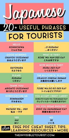 20 Super Useful Phrases in Japanese for Tourists & FREE Cheat Sheet These easy phrases in Japanese for tourists will help overcome the language barrier on your trip to Japan. Includes FREE PDF cheat sheet for offline use! Japanese Travel, Study Japanese, Japanese Culture, Japanese Phrases, Japanese Words, Japanese Things, Japanese Grammar, Japanese Kanji, The Words