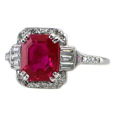 Magnificent certified natural Burmese ruby and diamond Art Deco ring from the Diamantringe Art Deco Schmuck, Bijoux Art Deco, Schmuck Design, Art Deco Jewelry, Jewelry Design, Jewelry Ideas, Jewelry Crafts, Art Deco Diamond Rings, Ruby Diamond Rings
