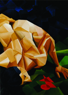 LEVANTANDO [MANCHA VERMELHA II] tinta óleo em tela 65 x 90 cm
