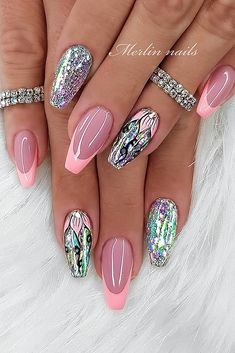 Новогодний маникюр – 50 лучших вариантов - Fotoleo Bling Acrylic Nails, Best Acrylic Nails, Bling Nails, Acrylic Nail Designs, Swag Nails, Nail Art Designs, Nails Design, Gel Nails, Classy Nails