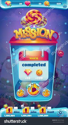 Sweet World Mobile Game User Interface Gui Mission Completed Window Стоковая векторная иллюстрация 346157444 : Shutterstock