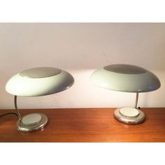 1940s Pair of grey German desk Lamps - with enamel and nickel shade and polished body