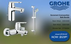 Grohe eurosmart cosmopolitan bath bundle basin & shower mixer, shower rail set @ SGD$528 (32825000, 32831000, 27794000) #grohe #bathroom #bath #taps #promotions #singapore Shower Mixer Taps, Bath Mixer, Shower Rail, Shower Set, Bathroom Gallery, Basin, Bath Taps, Bathroom Bath, Singapore