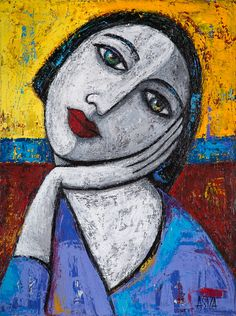 This Abstract Contemporary Figurative Illustration Impressionism People Texture , Canvas - Gallery wrap 1 - Acrylic Paintings painting was produced by ASIZA. Abstract Portrait, Portrait Art, Abstract Art, Portraits, Figurative Kunst, Face Art, Art Lessons, Watercolor Art, Modern Art
