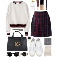 Marmont diamond by sophiehackett on Polyvore featuring moda, Lands' End, SELECTED, Yves Saint Laurent, Gucci, Olivia Burton, Marni, Too Faced Cosmetics, NARS Cosmetics and Versace