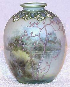 Antique Hand Painted Noritake Nippon Moriage Blue Galle' Vase | eBay