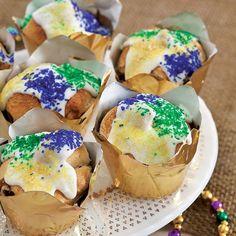 King Cake Cupcakes - Paula Deen Magazine  I think I can make these myself- too cute
