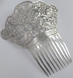 HUGE ANTIQUE CHINESE HAND CHASED STERLING SILVER PEONY FLOWER HAIR COMB ORNAMENT #Unknown