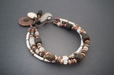 3 strands tribal bracelet • rustic • raw Baltic Amber • shell heishi beads • moonstone • crystal • pebble beach stones • white sea glass by entre2et7 on Etsy