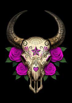 'Bull Sugar Skull with Purple Roses' Art Print by jeff bartels Bull Skull Tattoos, Sugar Skull Tattoos, Bull Skulls, Animal Skulls, Body Art Tattoos, Deer Skulls, Cow Skull Art, Sugar Skull Art, Sugar Skulls