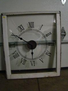 Vinyl Clock + Vintage Window = LOVE http://varga.uppercaseliving.net